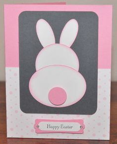Happy Easter Pink Bunny Greeting Card Stamped by SnippetsByDesign, $3.50