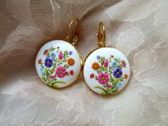Flower Fairies of the Spring from Stories Made By Hands Spring Earrings Polymer Clay White Earrings Colorful Embroidery Jewelry