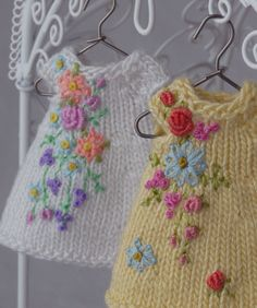 Tiny dresses for the Amelia Thimble doll. Cindy Rice Designs