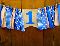 Blue Birthday Banner Highchair High Chair by SeacliffeCottage