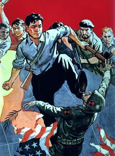 North Korean Anti-Imperialism Propaganda From The Korean War Cold War Propaganda, Communist Propaganda, Propaganda Art, Political Posters, Political Art, Cover Design, Socialist Realism, Black Panther Party, Soviet Art