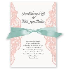 The beauty of vintage lace embraces your wording in soft luxury. We've enhanced the look and feel of these wedding invitations with ribbon, which is available in your choice of color. A matching lace pattern appears on the back of these invites. Design and wording are printed in your choice of colors and fonts. Satin ribbon comes precut and ready for tying around the invitation. Invitation includes inner and outer envelopes.