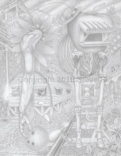 Dr. Applehead bowls 300 #fantasy #blackandwhite #pencildrawing #surreal