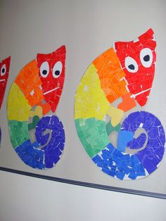 mixed up chameleon- use tissue paper squares and make reference to a rainbow