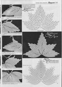 Many gorgeous Crochet Motifs with charts!Irish Crochet Leaf Picture Tutorial (in Russian) with Charts.Make from 1 Irish Crochet leaf more .This is best maple leaf crochet diagramhojas a crochet Crochet Leaf Patterns, Crochet Leaves, Crochet Motifs, Crochet Diagram, Freeform Crochet, Crochet Chart, Thread Crochet, Crochet Designs, Crochet Flowers