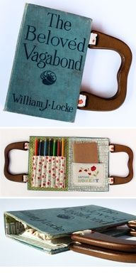 DIY Turn an old book into a built-in activity, art, journal or notebook with case! (GREAT IDEA FOR THOSE LEFT OVER COVERS AFTER YOUVE MADE ALL THOSE CRAFTS WITH BOOK PAGES) Great Gift idea too! so cool