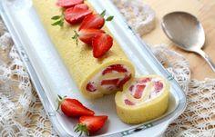 Recette - Gâteau roulé à la fraise en pas à pas