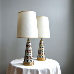LOVE this pair of Mid Century Ceramic Table Lamps by BarkingSandsVintage