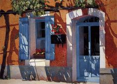"""La Porte Bleu"" by Judy Morris.  Wonderful shadows in this painting!"