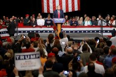 """Feb. 19, 2016...Donald Trump speaks during a campaign stop in North Charleston, S.C. Then-candidate Trump gave a stump speech in which he railed against American jobs moving to Mexico: """"We lose our jobs, we close our factories, Mexico gets all of the work,"""" he said. """"We get nothing."""" That same day a law firm in Mexico City quietly filed for trademarks that would authorize the Trump brand to set up shop in a country with which he has ..."""