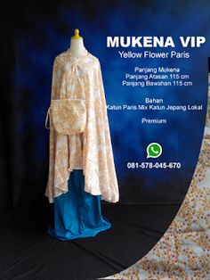 Mukena Vip Yellow Flower Paris - Grosir Pesan Mukena katun jepang santung bordir batik bali murah anak