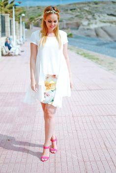 Нери hdez, inlovewithfashion, цветочный принт, Primark тенерифе, блондинка, цветочные юбка, estampado де Flores