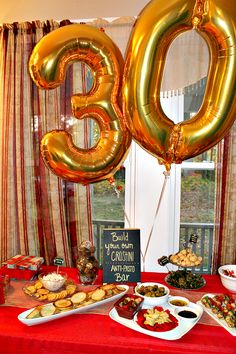 """Plaid is Rad"" 30th Birthday part idea. They also had a ""Build Your Own Crostini"" bar! #party #ideas #birthday"