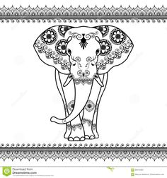 Elephant With Border Elements In Ethnic Mehndi Style. Vector Black And White Frontal Elephant's Illustration Isolated Stock Vector - Image: 69474383