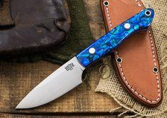 Bark RIver Knives: Kalahari Bushman - Blue Paua Shell Black - Blue Liners - #1