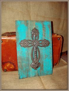 Teal Turquoise Cross Board Hanging Wall Decor, Vintage, Country, Western, Faith, Christian, Reclaimed Barn Wood