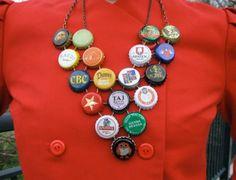 New Dress A Day - DIY - vintage dress - beer bottle cap necklace - 132 Bottle Cap Bracelet, Bottle Cap Jewelry, Bottle Cap Crafts, Diy Bottle, Bottle Caps, Beer Bottle, Diy Upcycled Bottles, New Dress A Day, Beer Crafts