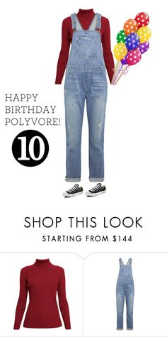 """""""Celebrate Our 10th Polyversary! turtleneck and overalls"""" by im-karla-with-a-k ❤ liked on Polyvore featuring Rumour London, Current/Elliott, Converse, polyversary and contestentry"""