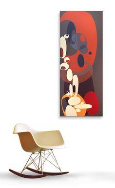 Nous sommes heureux d'offrir ce fabuleux original, moderniste peinture sur toile peint à la main inspiré par des conceptions scandinaves au début des années 50 et 60. Chaque tableau est réalisé sur toile de poids lourd d'un calibre exceptionnel, tendue sur un cadre de Galerie 3 »