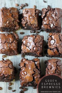 Need a jolt? Look no further than these Gooey Espresso Brownies! Gooey chocolate infused with espresso will wake you up and give that sugar jolt needed to get through the day! Espresso Brownies, Coffee Brownies, Gooey Brownies, Café Espresso, Chocolate Espresso, Melting Chocolate, Brownie Recipes, Cookie Recipes, Dessert Recipes