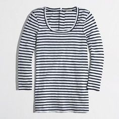 J. Crew Factory back-zip artist scoopneck tee J.Crew Factory back-zip artist scoopneck tee. Navy and white stripes.          Three-quarter sleeves.     Machine wash.     Import.     Cotton.     Slim fit. J. Crew Tops Tees - Long Sleeve