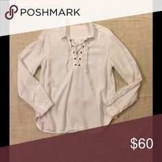Bella Dahl - Saks fifth avenue. White lace up top Long sleeve white tie up shirt. 💯 % tencel made is USA. High quality. bella dahl Tops Tees - Long Sleeve