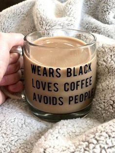 Cute Cars Accessories Discover Wears Black Loves Coffee Avoids People Mug! Coffee Is Life, I Love Coffee, My Coffee, Coffee Enema, Coffee Art, Coffee In The Morning, Cool Coffee Cups, Coffee Pics, Coffee Maker