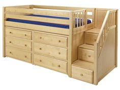 Maxtrix Great 3 Low Loft Storage Bed with Stairs & 2 Dressers
