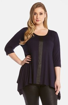 This is a stylish easy to wear top.  Just throw it on and go!  http://curvygenius.com/faux-leather-contrast-top/