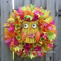 A personal favorite from my Etsy shop https://www.etsy.com/listing/294289233/owl-wreath-summer-mesh-wreath-spring