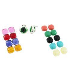 qvc Joan Rivers LTD. Silvertone Chic 10 Color Changeable Pierced Earrings B284 #JoanRivers #DropDangle