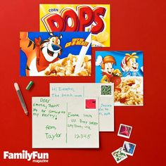 General Mails: Turn bright, cartoony boxes into postcards by cutting panels from them, then send your newly crafted cards to far-flung family members. #FamilyFunMagDay