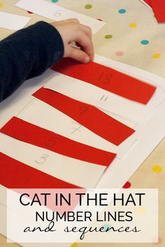 Inspired by the book The Cat in the Hat by Dr Seuss work with children on number lines and sequencing. An easy DIY activity that you can adapt for different ages