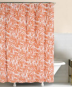 Orange Coral Shower Curtain