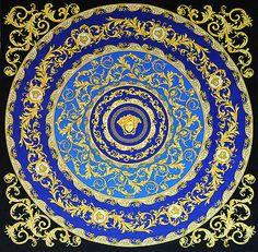 Versace Medusa Round Blue Velvet Fabric Panel Throw - 54
