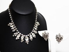 Description & Style: Art Deco Rhinestone Necklace & Earrings Set - Vintage 1940s Demi Parure - Clip on Earrings - Necklace with Clear Prong Set Rhinestones perfect for a bride for her vintage wedding. Wedding jewelry for the bride is always special. It becomes even more special when it