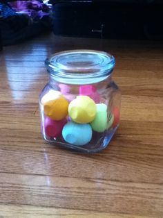Use candy jars to hold eos lip balms. Inspired by macbarbie07 for room ideas.