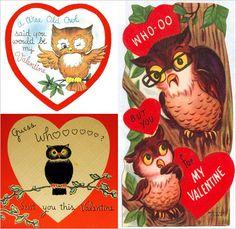 Vintage Owl Valentine's Day card.