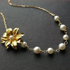 Gold Flower Necklace Pearl Necklace Vintage Gold by luxedeluxe, $39.00