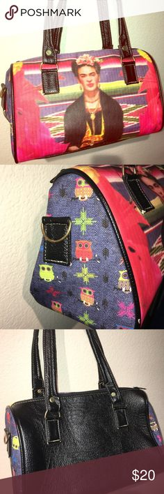 Frida Kahlo/Owl purse ♥️Frida Kahlo/Owl purse. Outside excellent condition, inside no stains or tears. Small zipped pocket inside. Owls printed on side are denim, back is leather, front is canvas. 11 inches wide, 7 inches tall♥️ Bags Hobos