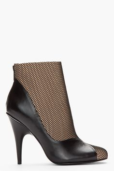 3.1 PHILLIP LIM Nude & Black Leather Nancy Fishnet Illusion Ankle Boots