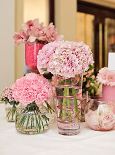 Mixed Pink flowers display