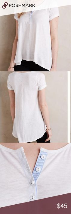 NWT ANTHROPOLOGIE ALINE LONG HENLEY. LARGE NWT ANTHROPOLOGIE long a line henley. White with buttons at neck. Longer in back with scoop neck. The most flattering style! Large Anthropologie Tops