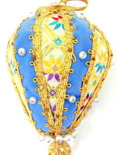 Vtg Handmade Beaded Christmas Ornament 1960's Blue Gold Trim Ball Faux Pearls