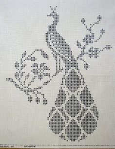 Peacock and Trellis Filet Crochet Pattern Cross Stitch Bird, Cross Stitch Animals, Cross Stitch Flowers, Cross Stitching, Funny Cross Stitch Patterns, Cross Stitch Charts, Cross Stitch Designs, Folk Embroidery, Cross Stitch Embroidery