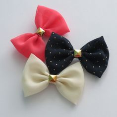 Mini Chiffon Hairbow Trio with Gold Studs in Peach, White, and Navy Blue on Etsy, $4.99