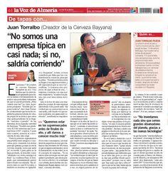 Entrevista 02/09/12 en La Voz de Almería    #almeria #andalucia #cerveza #beer #bayyana