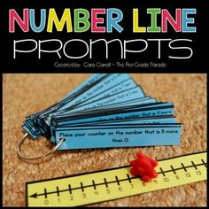 I implemented these number line prompts into my daily instruction with the idea of helping my kids not only build their numeracy skills, but also enhance their math vocabulary. Each of my students gets a laminated number line and a counter to keep in their desk.