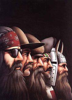 David Mann. Bikers Art. (Viking, Knight, Pirate, Gold Prospector, TX Ranger, Biker)   = ALL BADAZZ MEN!!