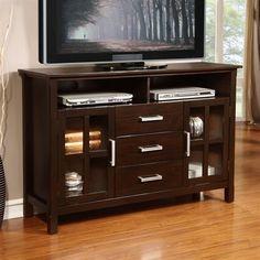 Simpli Home 3AXCRIDTVS Kitchener TV Media Stand, $400. 10687669S, measurement same, ATG.com.dark walnut brown finish, solid wood constr.